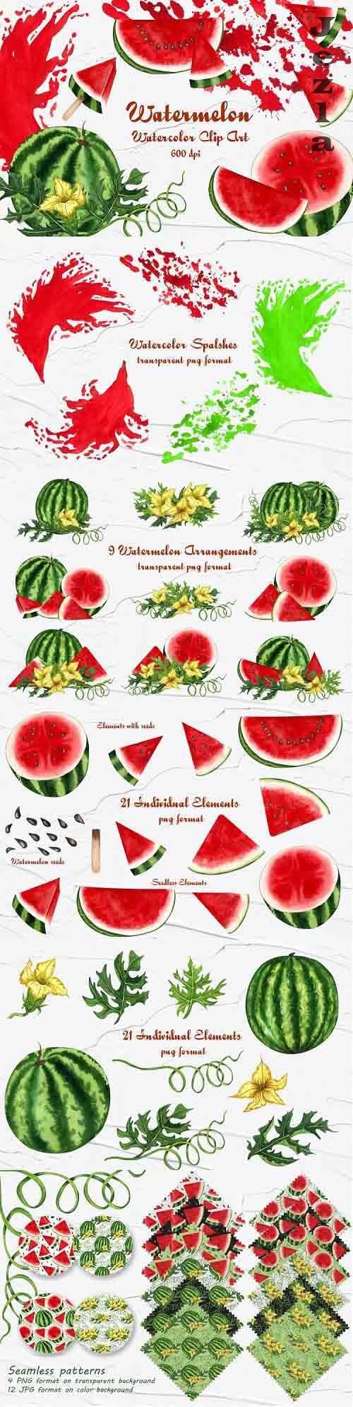 Watermelon Watercolor Clip Art 600dpi  - 701910
