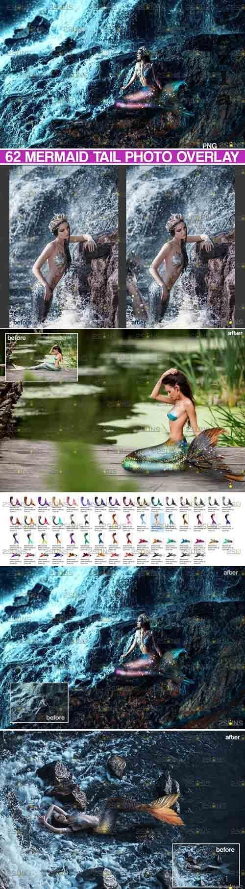 62 Mermaid tail, tails, overlays, Clipart, PNG - 735885