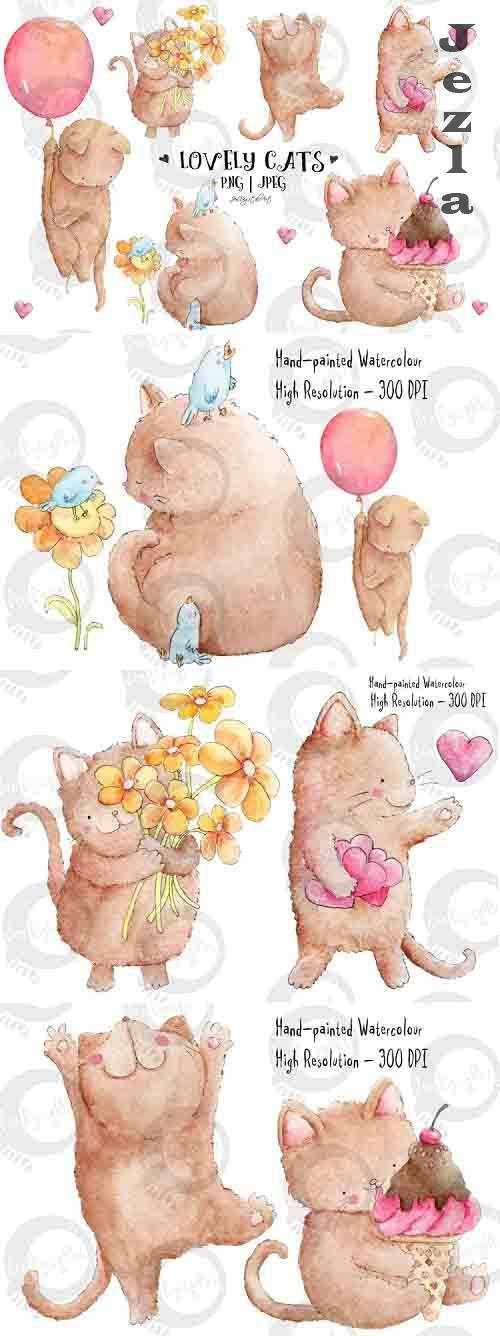 Lovely Cats | Watercolor Illustrations - 734137