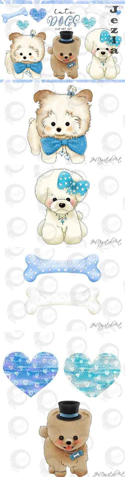 Cute Dogs - Blue Version - Designer Clip Art Set - PNG-JPEG  - 738898