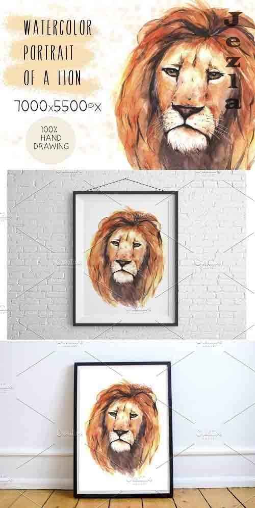 Watercolor portrait of a lion - 5182281