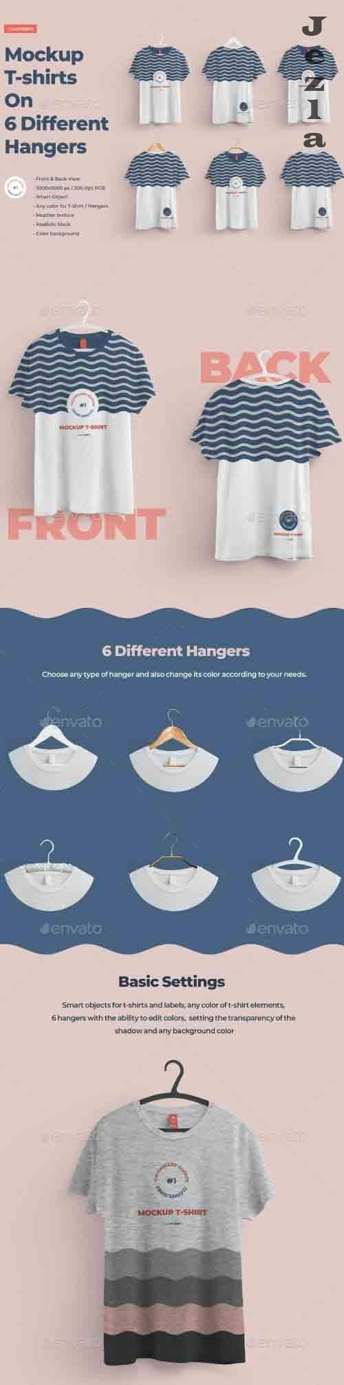 Front and Back T-shirts Mockups With 6 Different Hangers 27562918