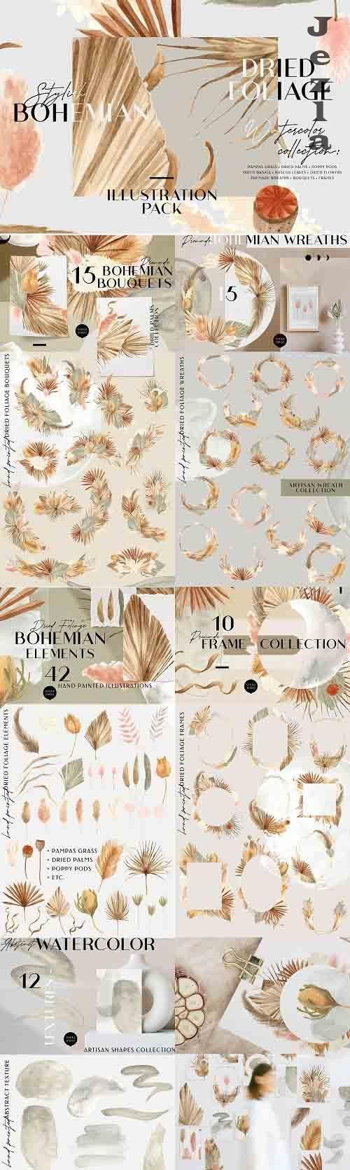 Bohemian Dried Foliage Illustration - 5185197