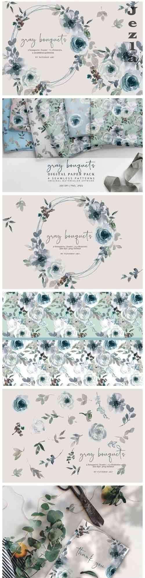 Gray and White Watercolor Floral Clipart and Pattern Set - 749038