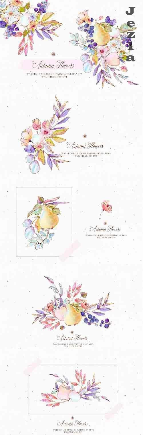 Autumn Flowers - watercolor set - 5191188