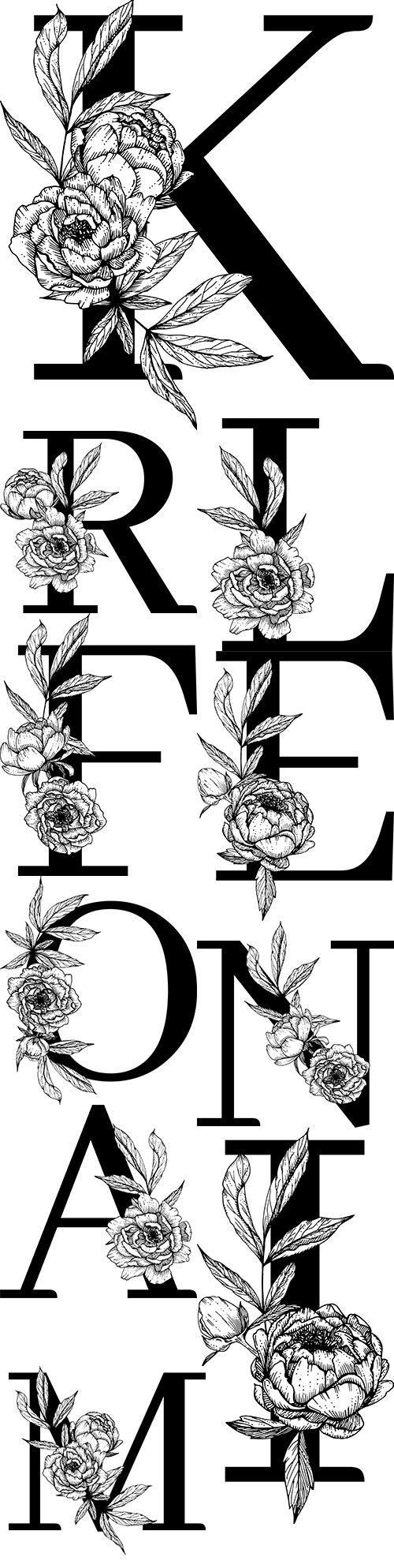 Capital letter floral decorative botanical alphabet