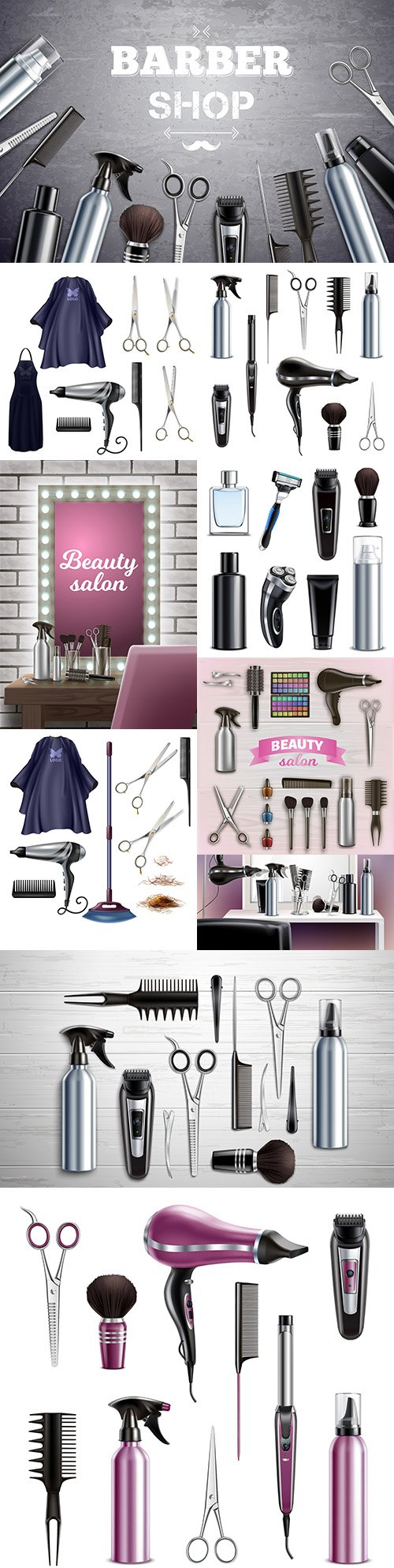 Hairdressing tools for hair styling and shaving realistic illustrations