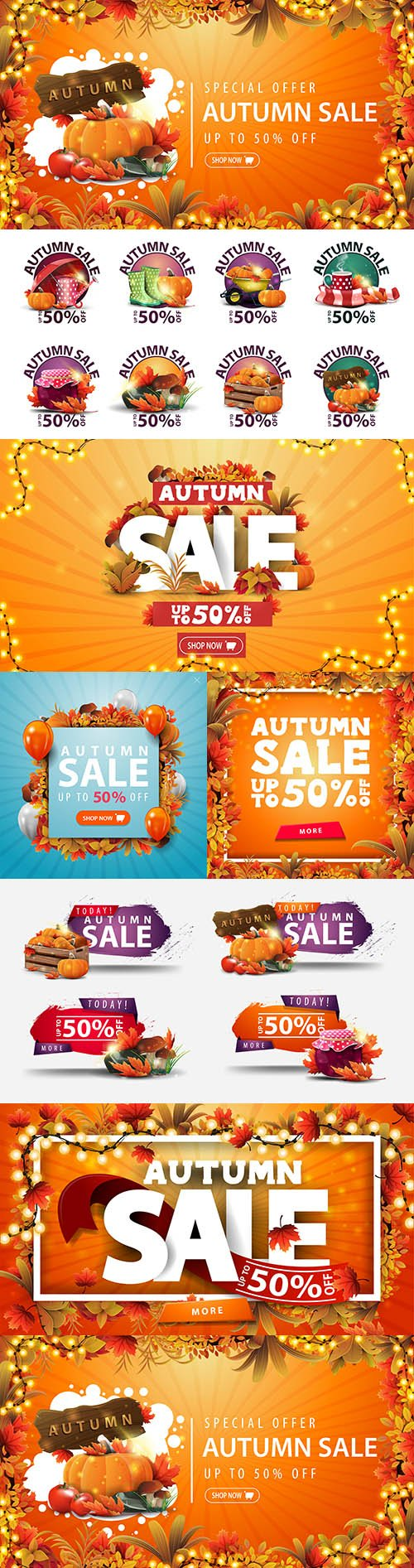 Autumn sale banner leaves around and from bright garland