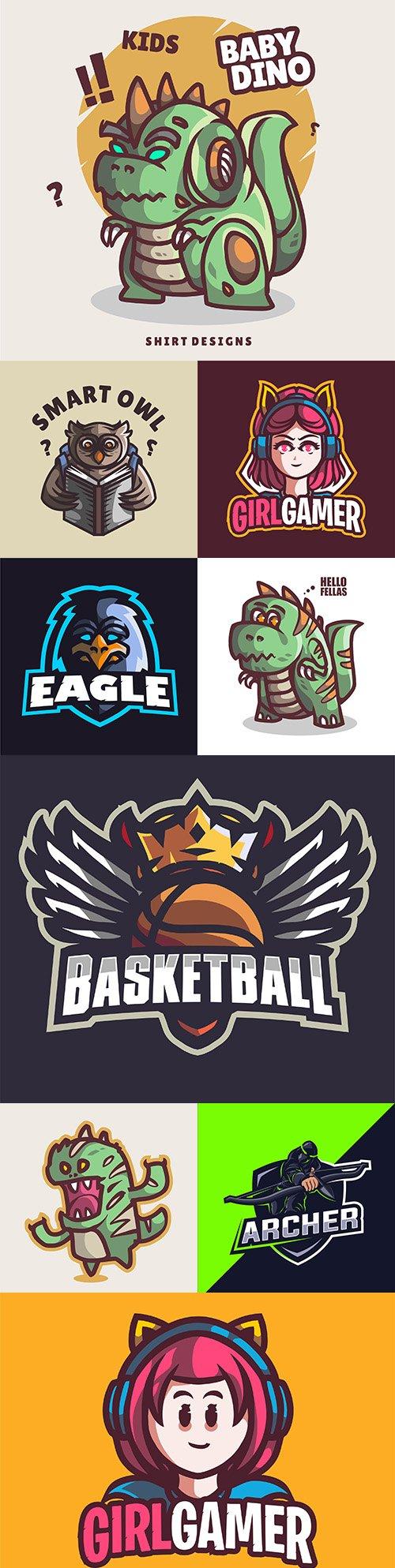 Emblem mascot and Brand name logos design