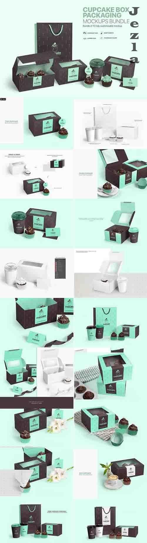 Cupcake Box Packaging Mockups Bundle - 758072