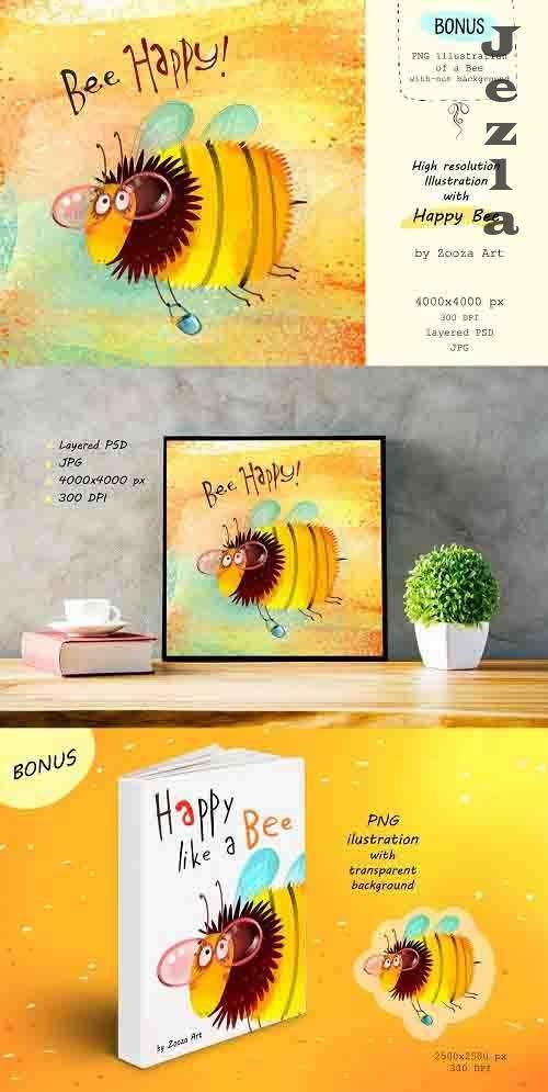 Bee Happy - illustration layered - 5231638