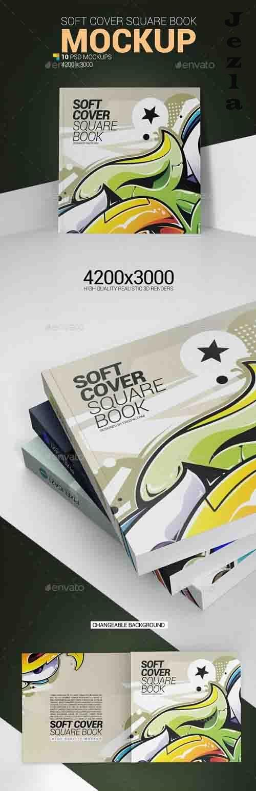 Soft Cover Square Book Mockup 25898591