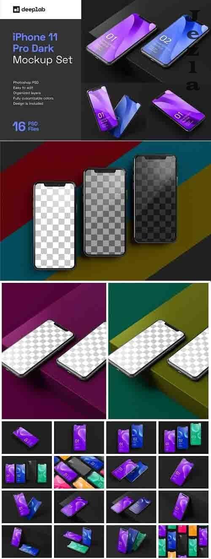 Dark iPhone 11 Pro Dark Mockup - 5212746