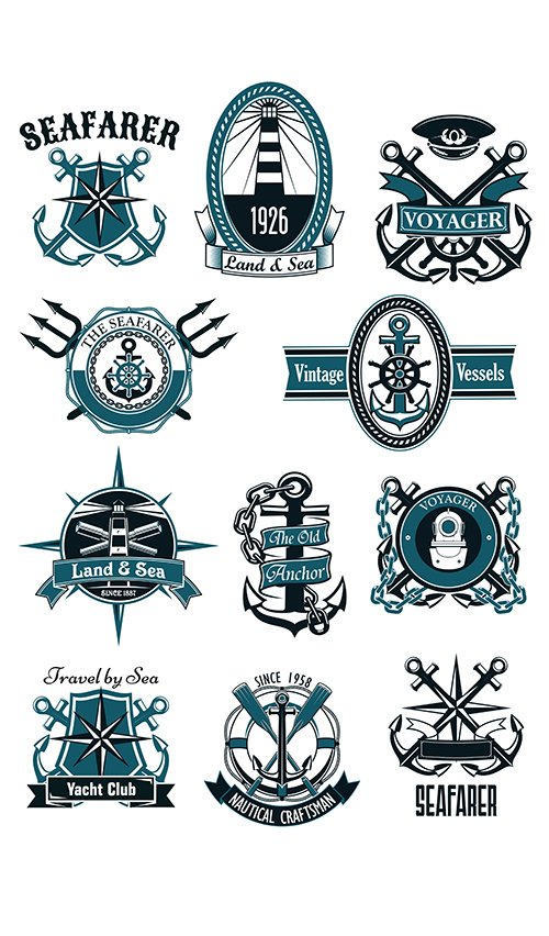Antique sea badges and emblems with marine design