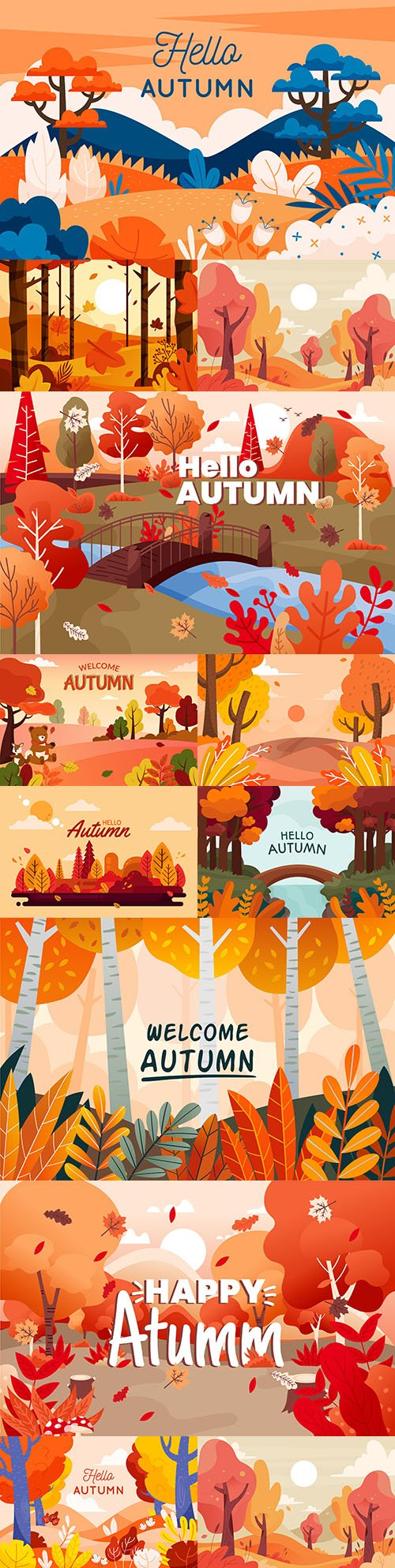 Autumn background with colorful view flat design illustration