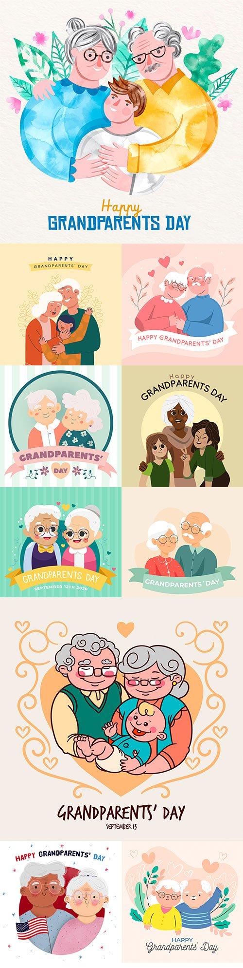 National grandparents day flat design illustration