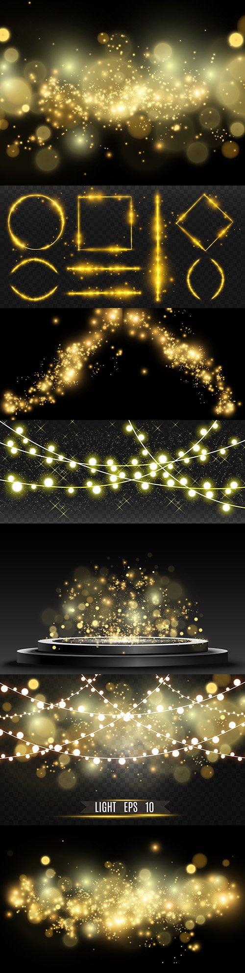 Shiny gold dust sparkling shiny light effect