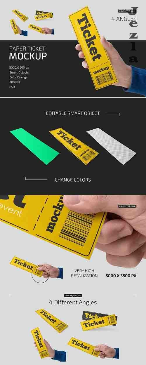 Paper Ticket Mockup Set - 5232782