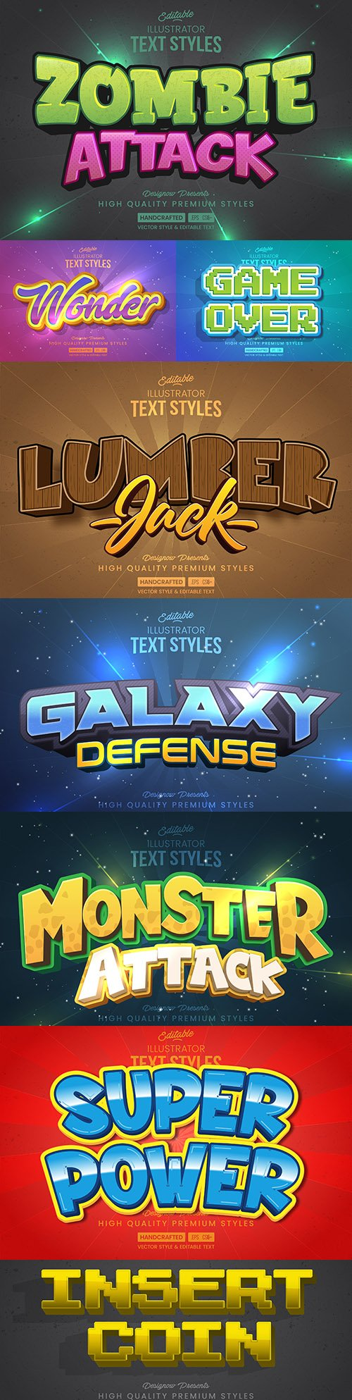 Editable font effect text collection illustration design 155