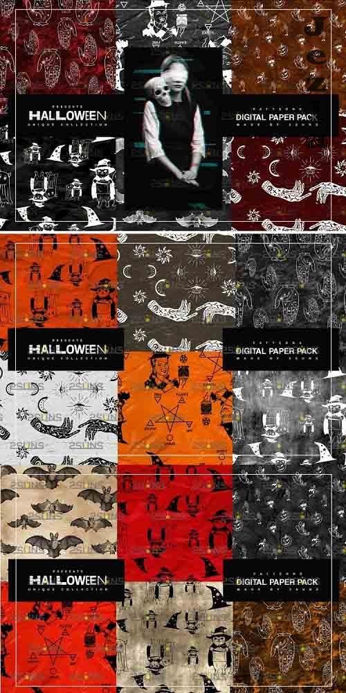 Halloween Digital Paper, Halloween Horror Witch Skulls Ghost - 781915
