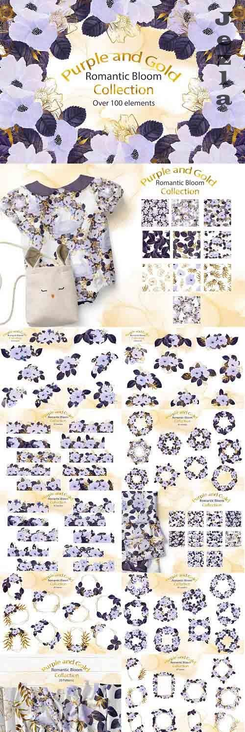 Purple and Gold Romantic Bloom Collection - 805610