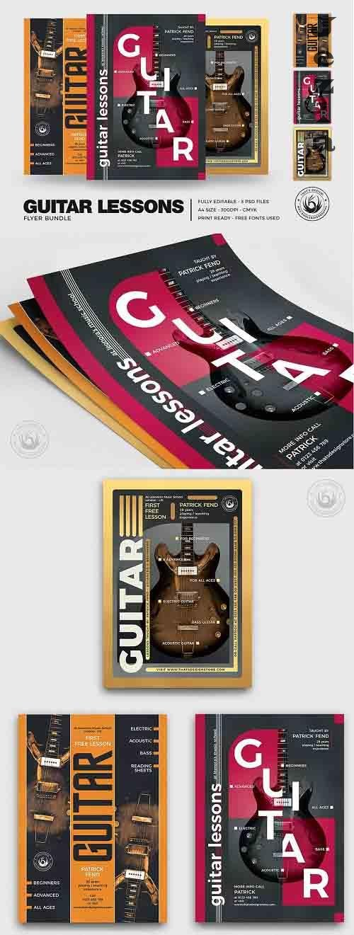 Guitar Lessons Flyer Bundle V2 - 5254408