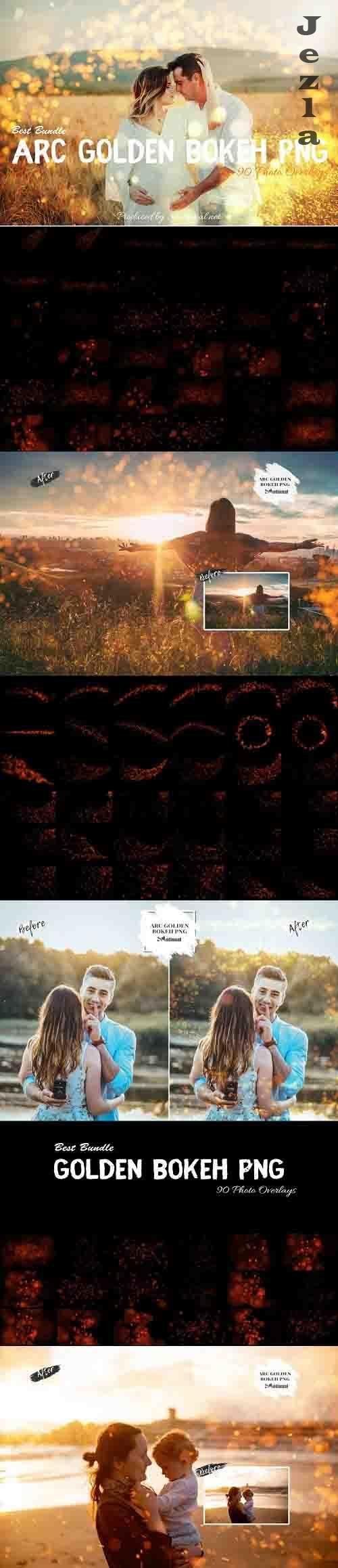 90 ARC Golden Bokeh PNG Effect Photo Overlays - 812936