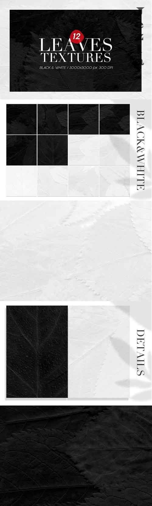 12 Black & White Leaves Textures - 800381