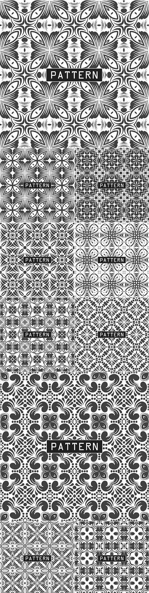 Decorative black and white seamless design pattern