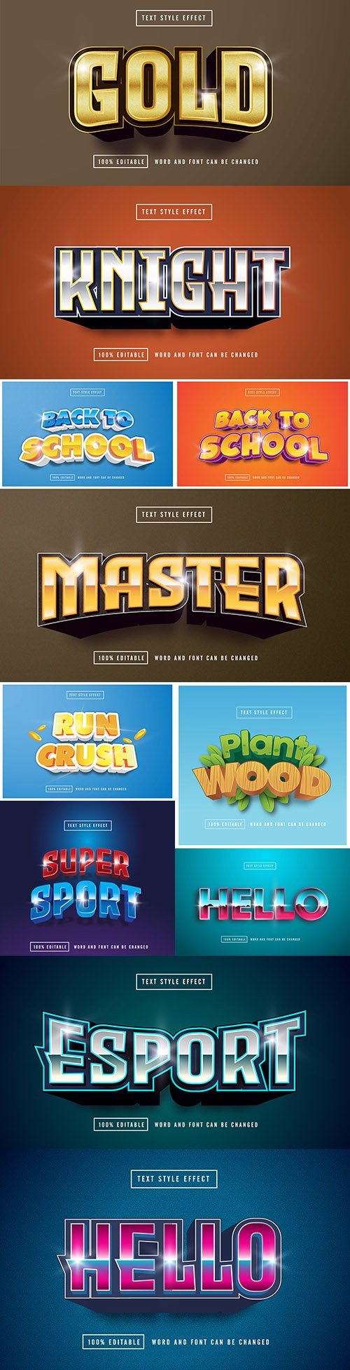 Editable font effect text collection illustration design 164