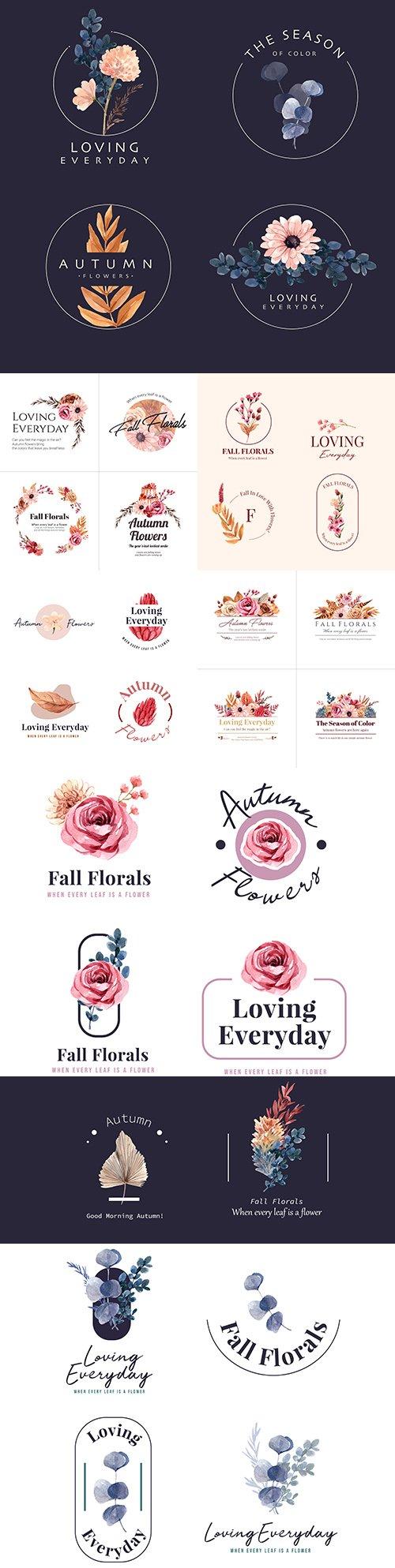Floral decorative emblems and logo design watercolor
