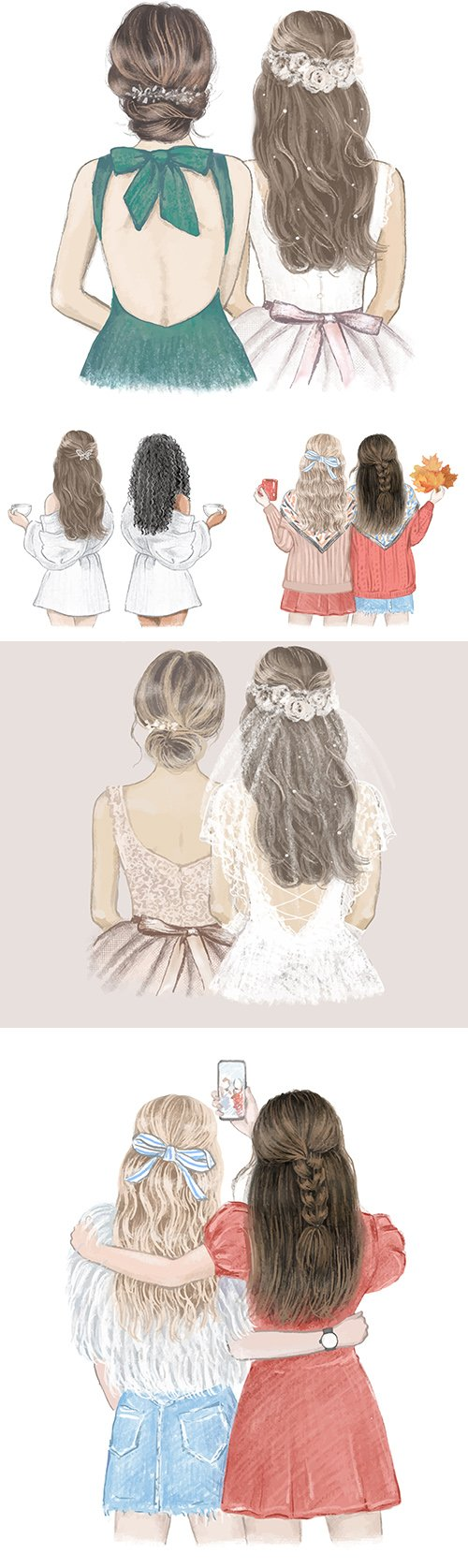 Girls with a beautiful hairstyle turned back illustration