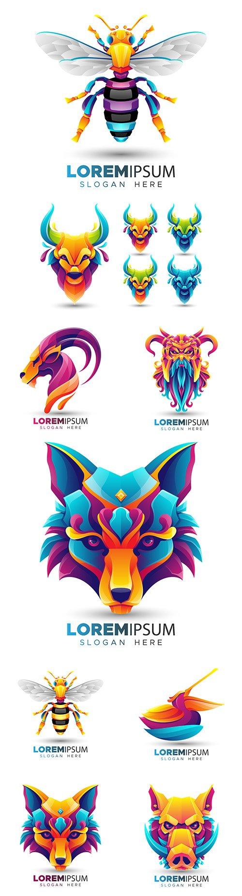 Origami and animal logo design flat color modern 9