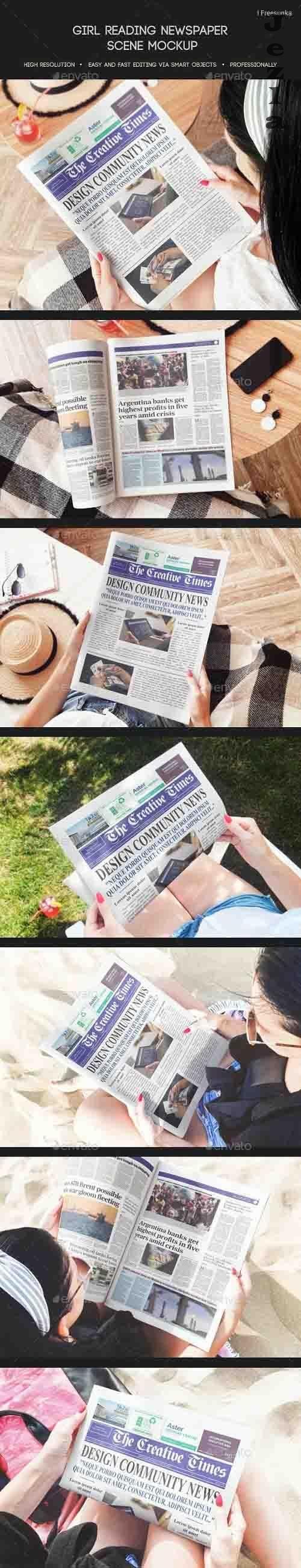 Girl Reading Newspaper Scene Mockup - 27927708