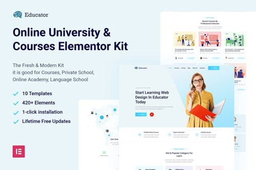 ThemeForest - Educator v1.0 - Online University & Courses Elementor Template Kit - 28112358