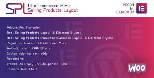CodeCanyon - WooCommerce Best Selling Products Layout for Elementor v1.0 - WordPress Plugin - 28134818
