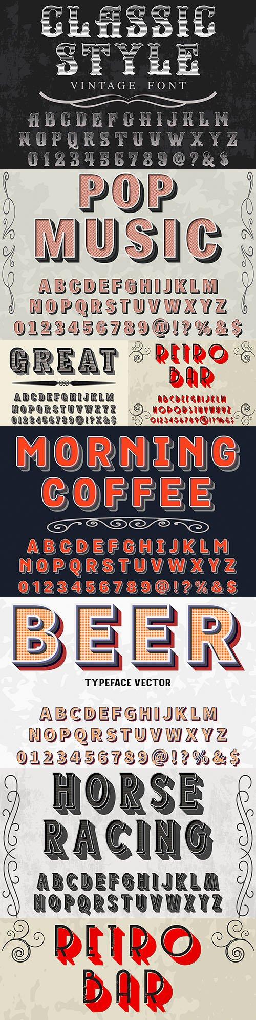Editable font and alphabet retro illustration design