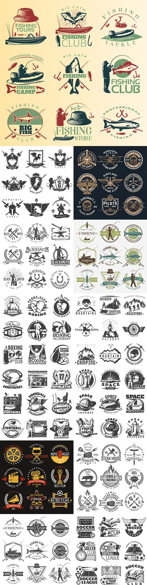 Vintage antique emblems and logos with text design 10