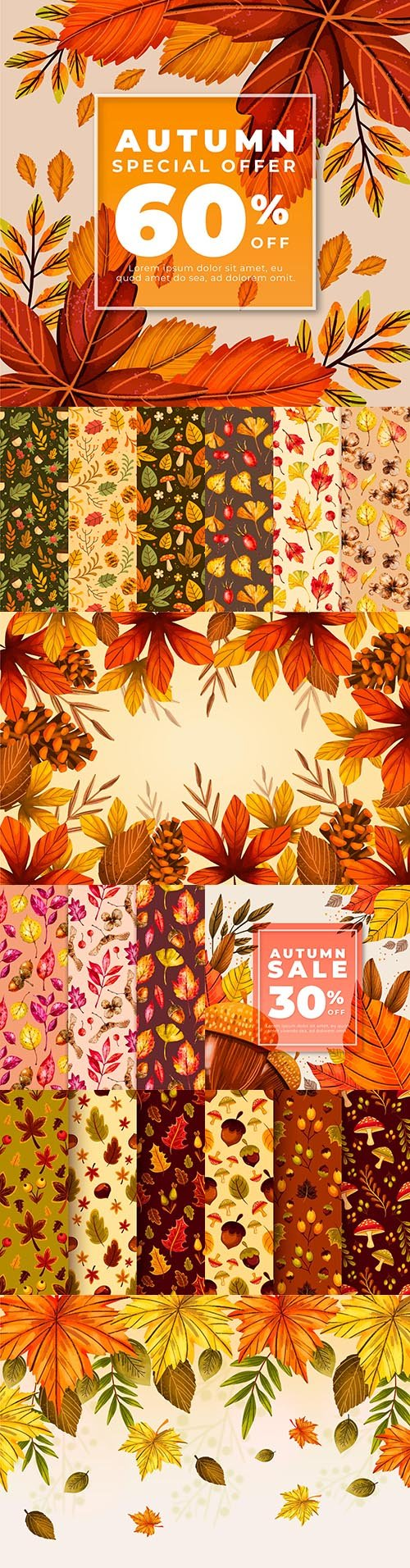 Autumn leaves seamless background and sale banner