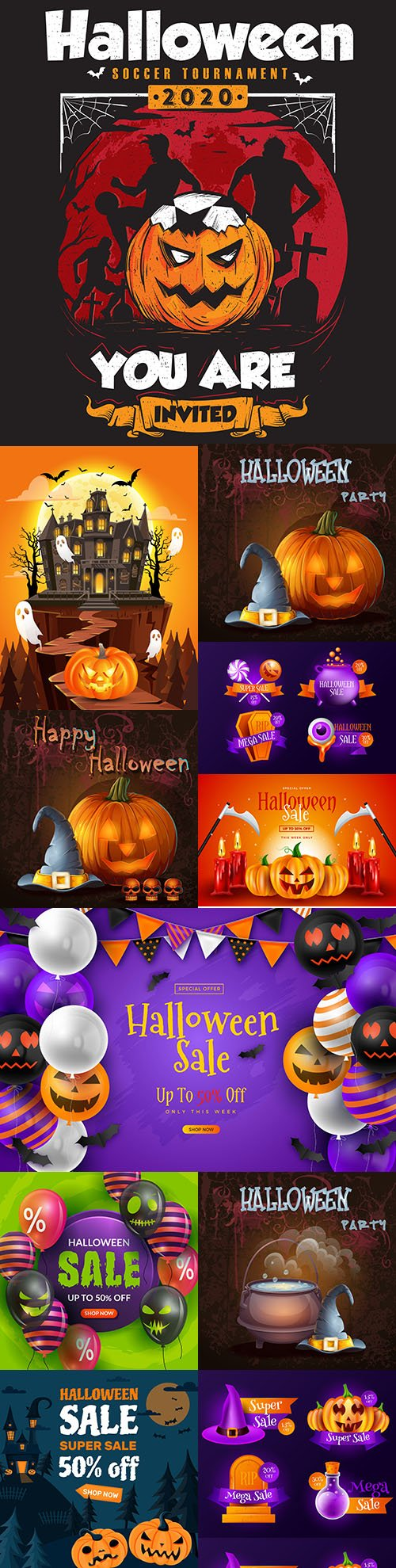 Happy Halloween holiday banner illustration collection 3