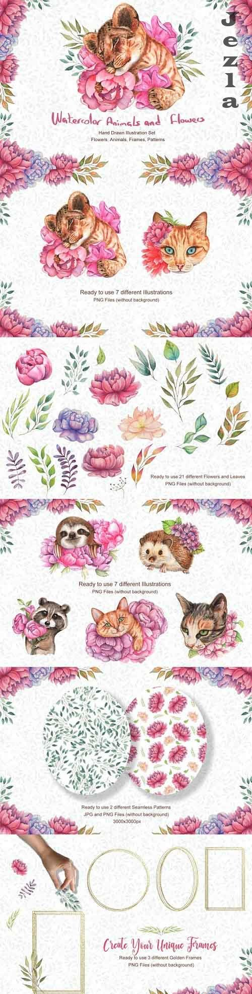 Watercolor Flowers and Animals SET - 831423
