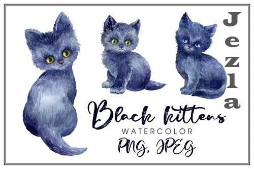 Black kittens. Watercolor illustrations - 833122