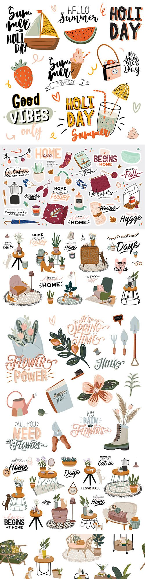 Fashion home interior and summer printing with festive elements