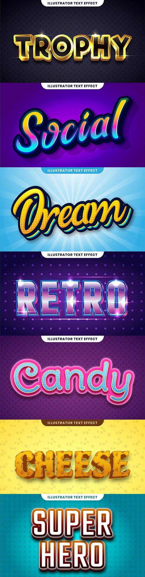 Editable font effect text collection illustration design 180