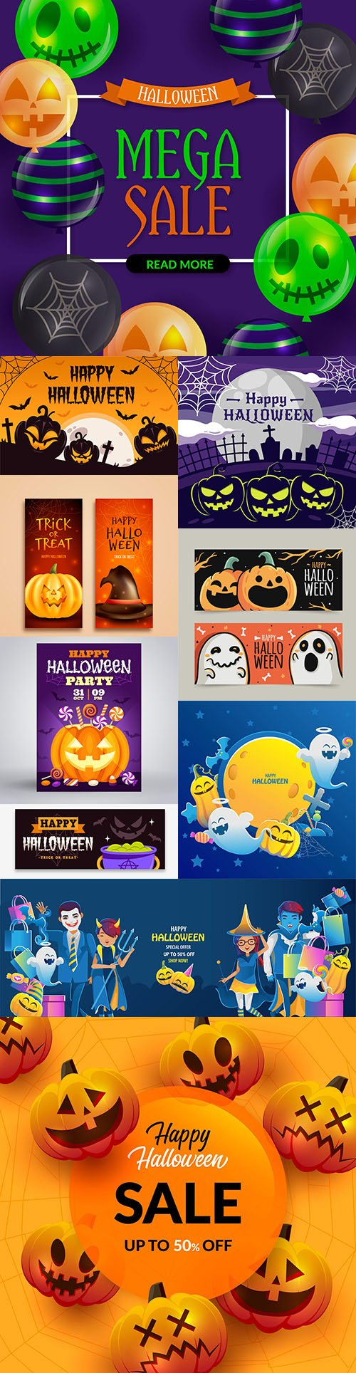 Happy Halloween holiday banner illustration collection 6