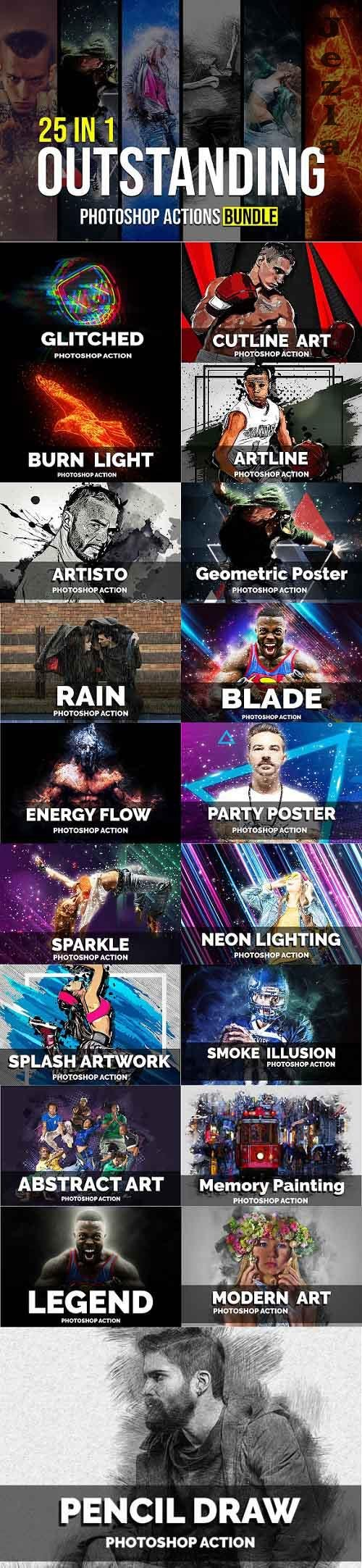 25 In 1 Outstanding Photoshop Actions Bundle - 5299135