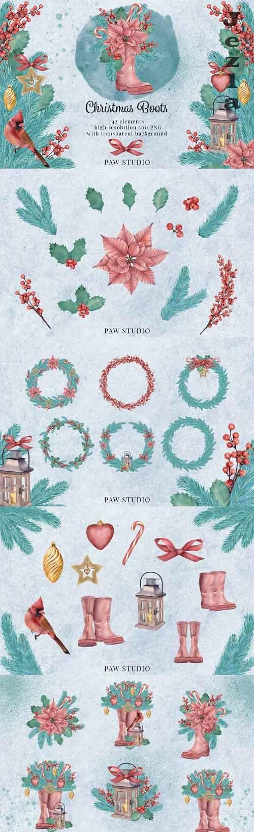 Christmas Clipart Wreaths New Year Winter Holiday Card - 847988