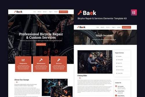 ThemeForest - Baek v1.0 - Bicycle Repair and Service Elementor Template Kit - 27667236