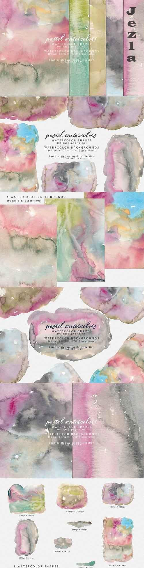 Watercolor Shapes & Backgrounds - 5323308
