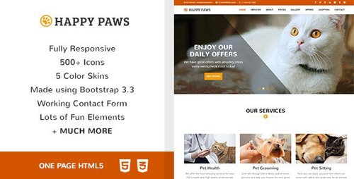 ThemeForest - Happy Paws v1.0 - Pet Responsive One Page HTML (Update: 24 March 20) - 12904571